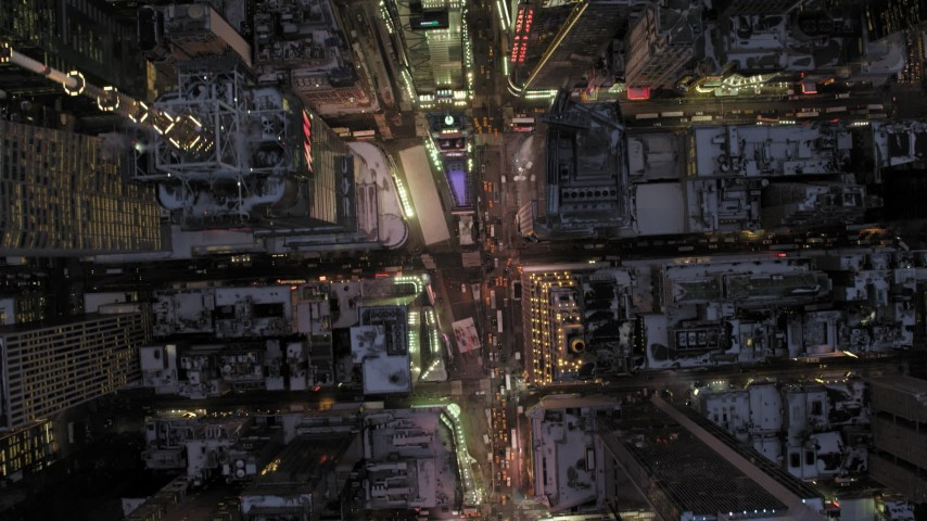 5K stock footage aerial video of a bird's eye view of Times Square in winter, New York City, twilight Aerial Stock Footage | AX66_0340