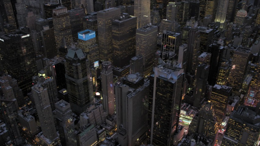 Times Square in winter, New York City twilight Aerial Stock Footage | AX66_0348