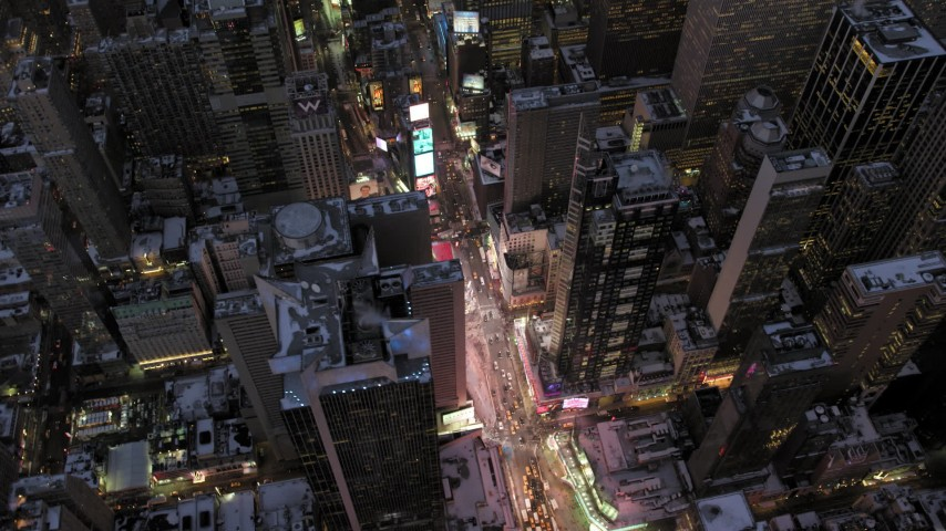 Times Square in winter, New York City twilight Aerial Stock Footage | AX66_0349