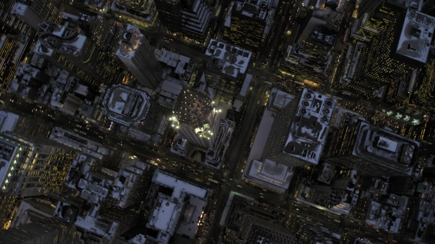 5K stock footage aerial video of a bird's eye view of the Chrysler Building in winter, New York City, twilight Aerial Stock Footage | AX66_0351