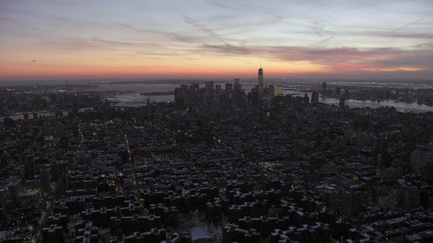 5K stock footage aerial video of a wide view of Lower Manhattan in winter, New York City, twilight Aerial Stock Footage | AX66_0354