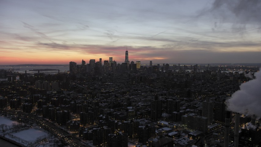 5K stock footage aerial video of Lower Manhattan and East Village in winter, New York City, twilight Aerial Stock Footage | AX66_0357