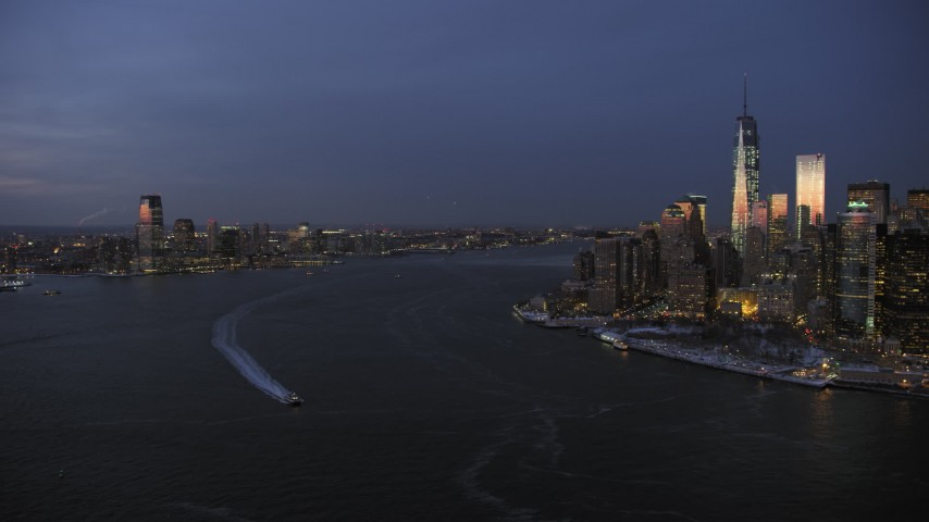 Lower Manhattan and Jersey City in winter, New York City twilight Aerial Stock Footage | AX66_0375