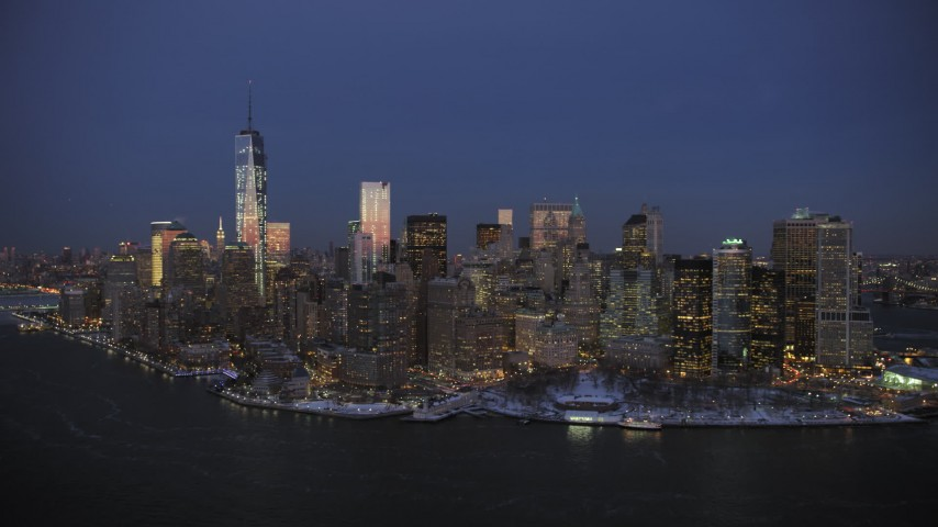 5K stock footage aerial video of One World Trade Center and Lower Manhattan in winter, New York City, twilight Aerial Stock Footage | AX66_0378