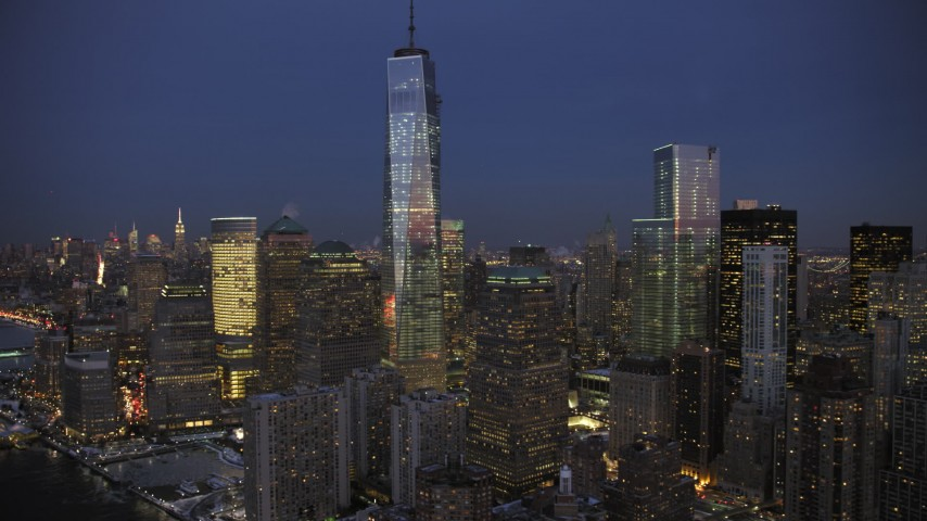 5K stock footage aerial video of One World Trade Center and Memorial in winter, New York City, twilight Aerial Stock Footage | AX66_0380