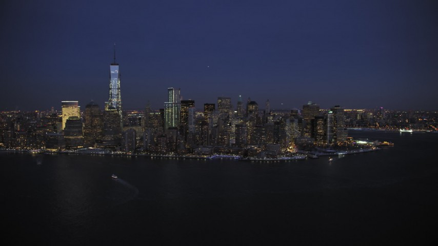 Lower Manhattan Skyline in winter, New York City twilight Aerial Stock Footage | AX66_0384