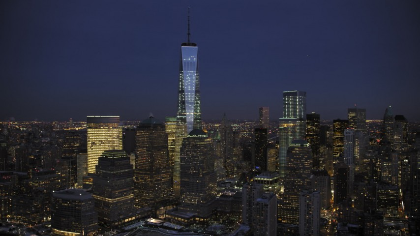 5K stock footage aerial video approach One World Trade Center in winter, New York City, twilight Aerial Stock Footage | AX66_0386