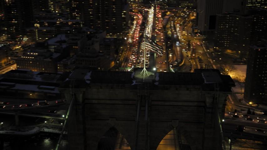 Brooklyn Bridge in winter, New York City twilight Aerial Stock Footage | AX66_0403