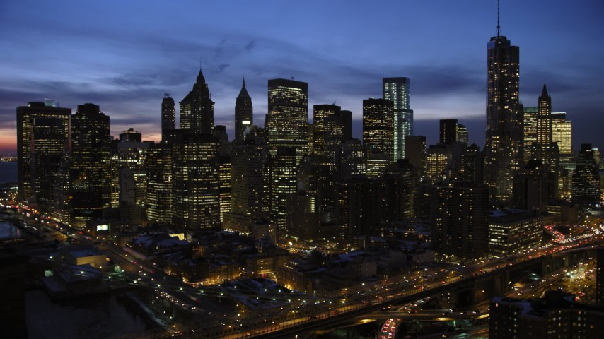 5K stock footage aerial video of orbiting Lower Manhattan, New York City, twilight Aerial Stock Footage | AX66_0407