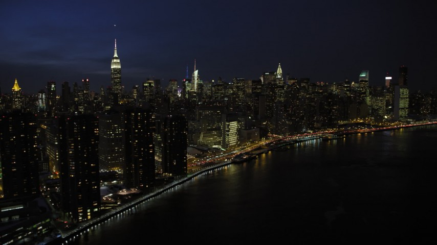 Midtown Manhattan Skyscrapers, New York City Night Aerial Stock Footage | AX66_0415