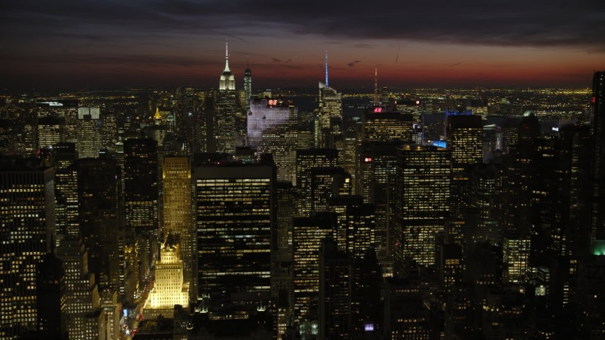 5K aerial video of Midtown Manhattan skyscrapers, New York City, night Aerial Stock Footage | AX66_0431