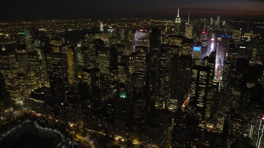 Midtown Manhattan Skyscrapers, New York City Night Aerial Stock Footage | AX66_0436