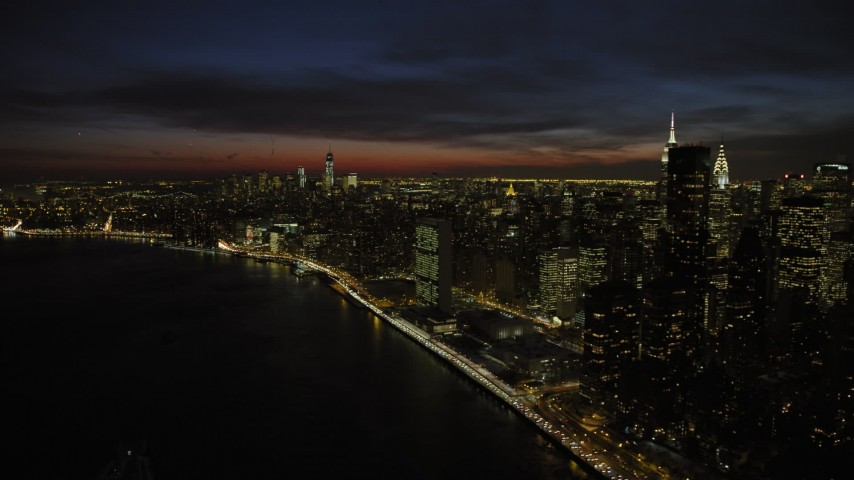 United Nations Building in Midtown Manhattan, New York City Night Aerial Stock Footage | AX66_0441
