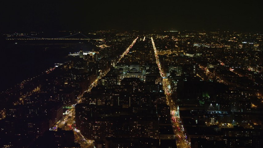 4K stock video aerial view of orbiting campus at Columbia University at night, New York City, New York Aerial Stock Footage | AX67_0005