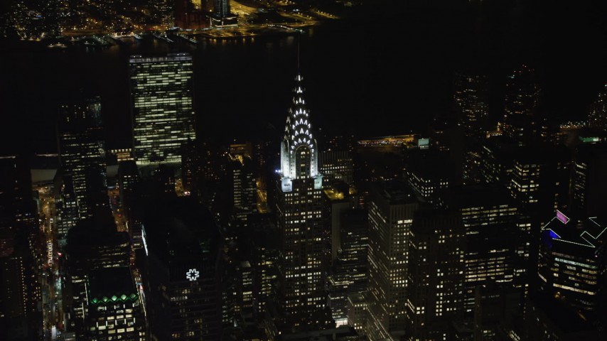 4K stock video aerial view top of the Chrysler Building at night in Midtown Manhattan, New York City, New York Aerial Stock Footage | AX67_0020