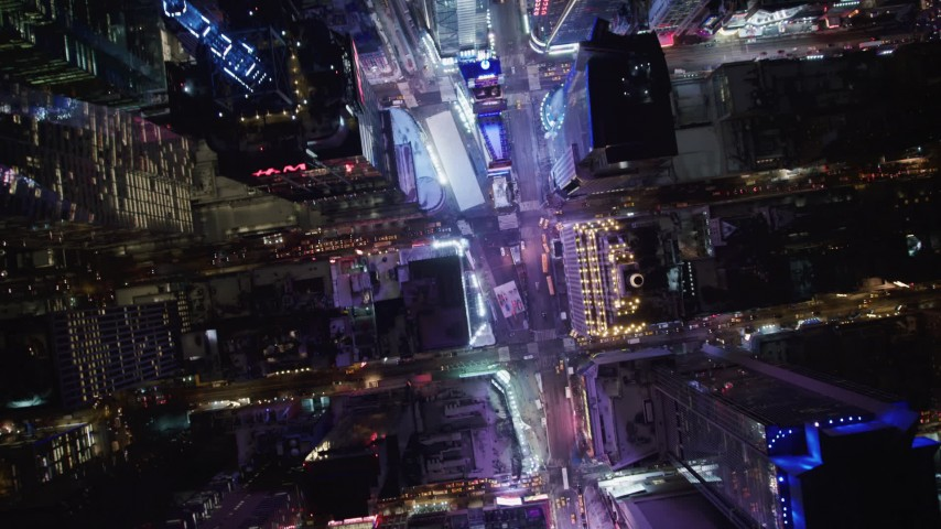 4K stock video aerial view of bird's eye view of Times Square at night, New York City, New York Aerial Stock Footage | AX67_0029