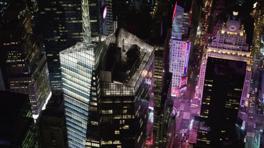 4K stock video aerial view of orbiting Bank of America Tower skyscraper at night, Midtown Manhattan, New York City, New York Aerial Stock Footage | AX67_0043