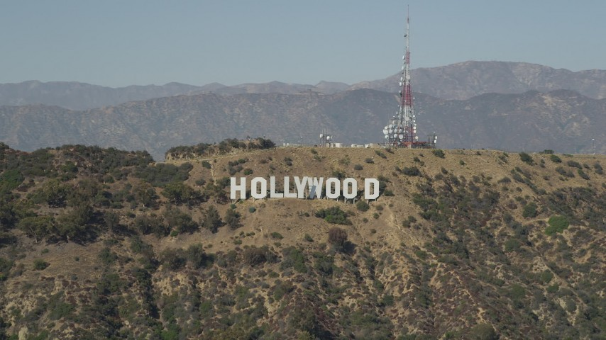 5K stock footage aerial video of the Hollywood Sign and radio tower in Los Angeles, California Aerial Stock Footage | AX68_003