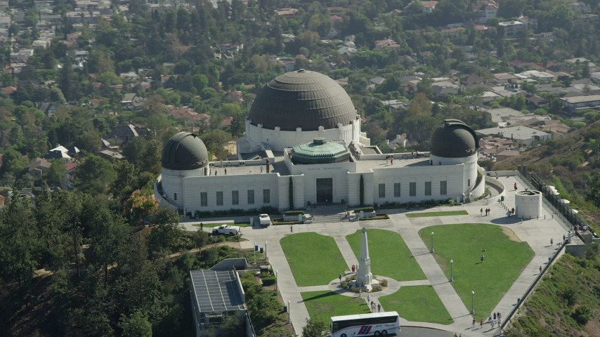 5K stock footage aerial video of the Griffith Observatory and grounds in Los Angeles, California Aerial Stock Footage | AX68_006