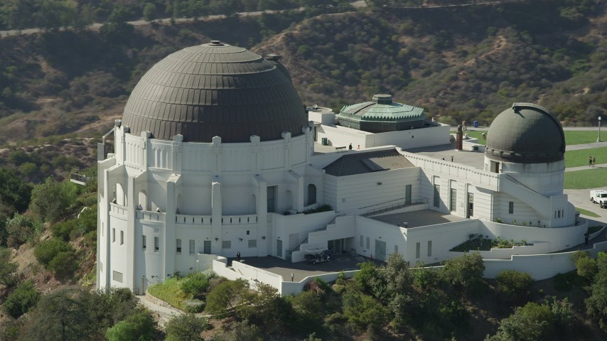 5K stock footage aerial video of a view of the Griffith Observatory in Los Angeles, California Aerial Stock Footage | AX68_008