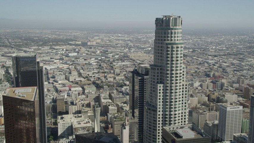 5K stock footage aerial video fly over Downtown Los Angeles past US Bank Tower, California Aerial Stock Footage | AX68_014