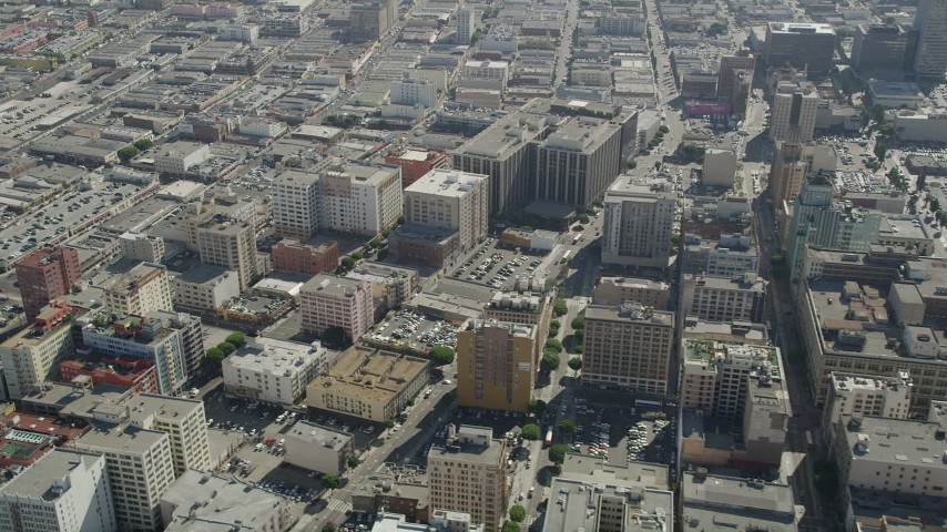 5K stock footage aerial video of office buildings and city streets in Downtown Los Angeles, California Aerial Stock Footage | AX68_015