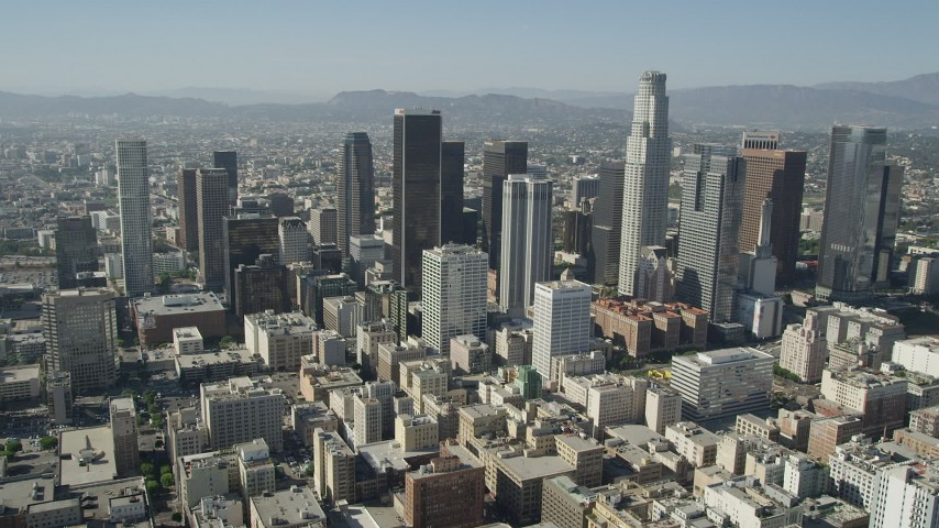 5K stock footage aerial video of a reverse view of Downtown Los Angeles skyscrapers, California Aerial Stock Footage | AX68_016