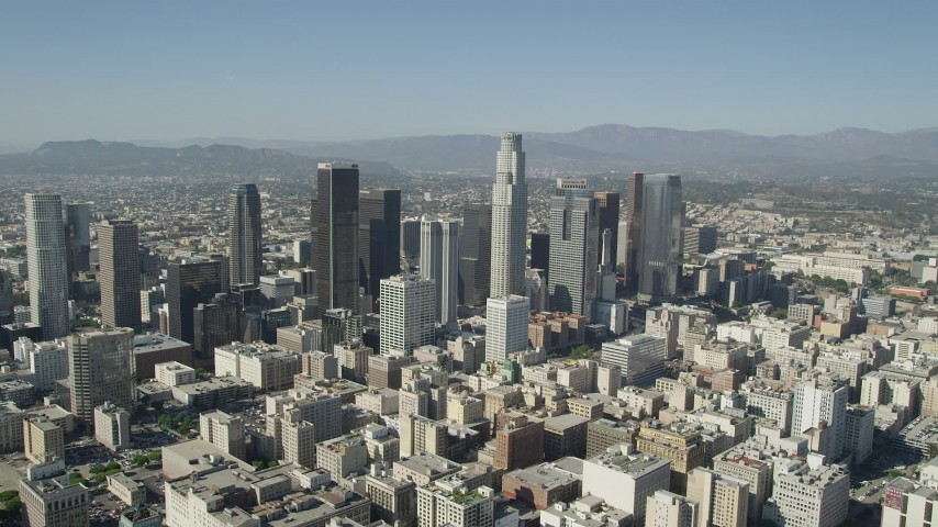 5K stock footage aerial video of a view of tall Downtown Los Angeles skyscrapers in California Aerial Stock Footage | AX68_017