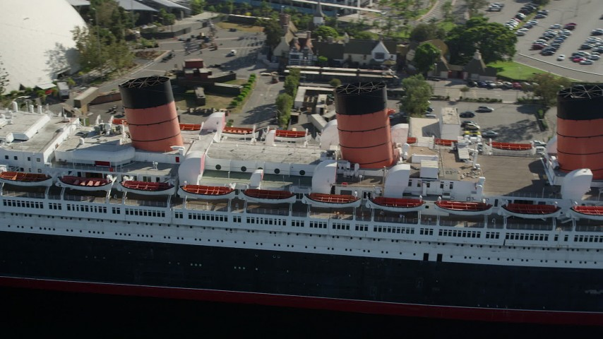 5K stock footage aerial video of starboard side of the RMS Queen Mary in Long Beach, California Aerial Stock Footage | AX68_066