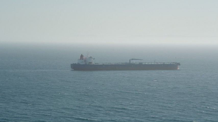 5K stock footage aerial video of an oil tanker on the Pacific Ocean Aerial Stock Footage | AX68_085