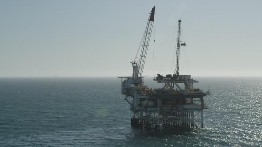 5K stock footage aerial video orbit oceanic oil derrick near Long Beach, California Aerial Stock Footage | AX68_094