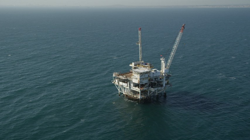 Circling an Oil Platform off the California Coast Aerial Stock Footage | AX68_100