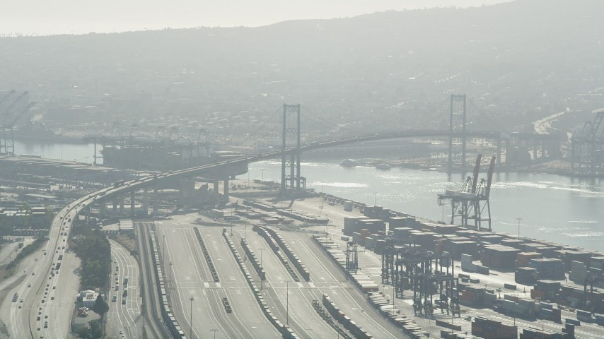 5K stock footage aerial video of approaching the Vincent Thomas Bridge at the Port of Los Angeles, California Aerial Stock Footage | AX68_145