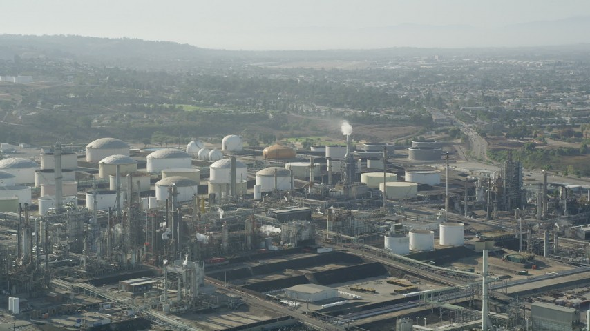 5K stock footage aerial video of the Los Angeles Refinery Wilmington Plant in San Pedro, California Aerial Stock Footage | AX68_171