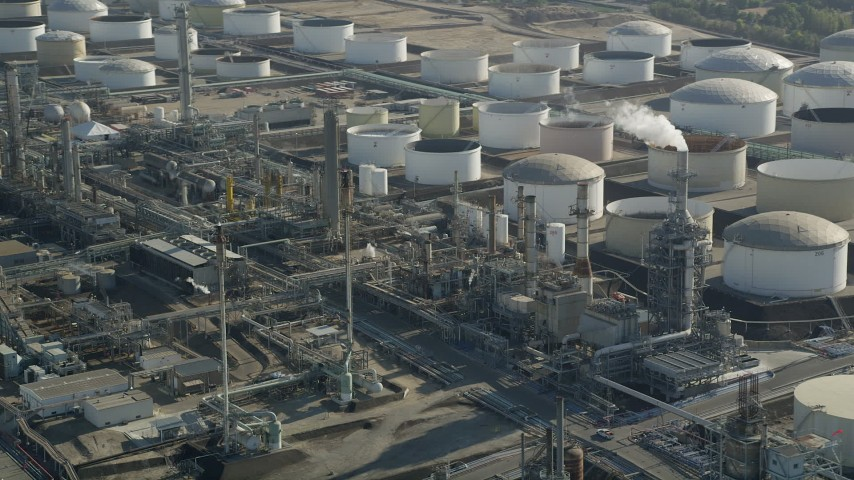 5K stock footage aerial video of large tanks at Los Angeles Refinery Wilmington Plant in San Pedro, California Aerial Stock Footage | AX68_174