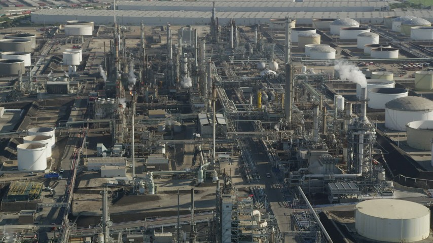 Los Angeles Refinery Wilmington Plant structures in San Pedro, California Aerial Stock Footage | AX68_175