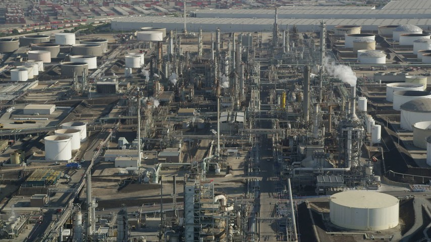 5K stock footage aerial video of Los Angeles Refinery Wilmington Plant structures in San Pedro, California Aerial Stock Footage | AX68_175