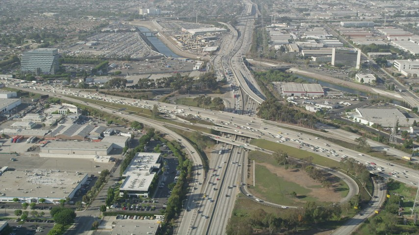 5K stock footage aerial video approach heavy traffic on the I-110 and 405 Interchange in Torrance, California Aerial Stock Footage | AX68_182