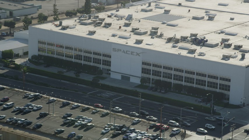 5K stock footage aerial video front of SpaceX office building in Hawthorne, California Aerial Stock Footage | AX68_192