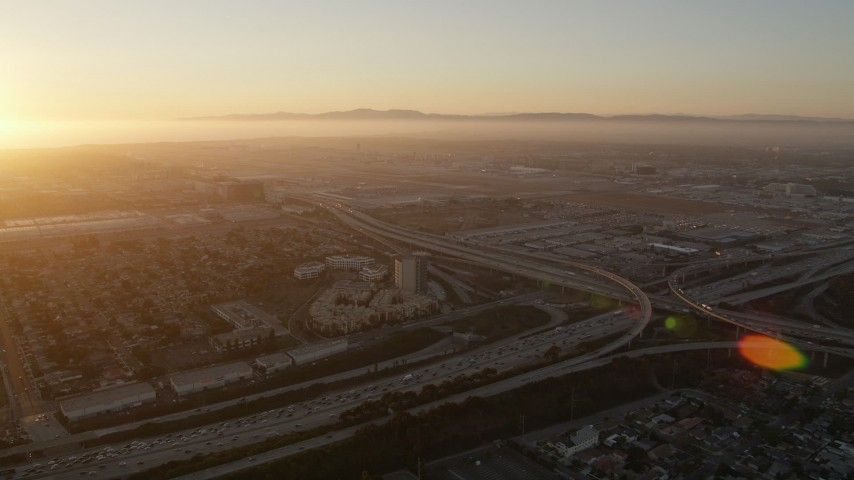 5K stock footage aerial video of Los Angeles International Airport at sunset in California Aerial Stock Footage | AX69_001
