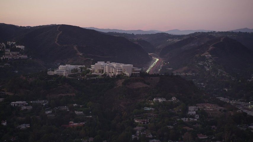 5K stock footage aerial video of J. Paul Getty Museum in the hills above Brentwood at twilight, California Aerial Stock Footage | AX69_052