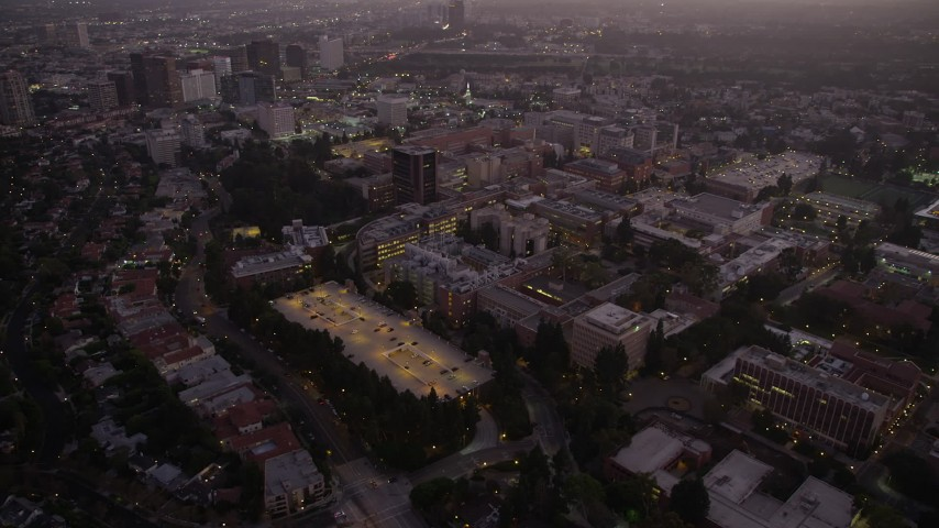 5K stock footage aerial video of the College college campus at twilight, Westwood, California Aerial Stock Footage | AX69_060