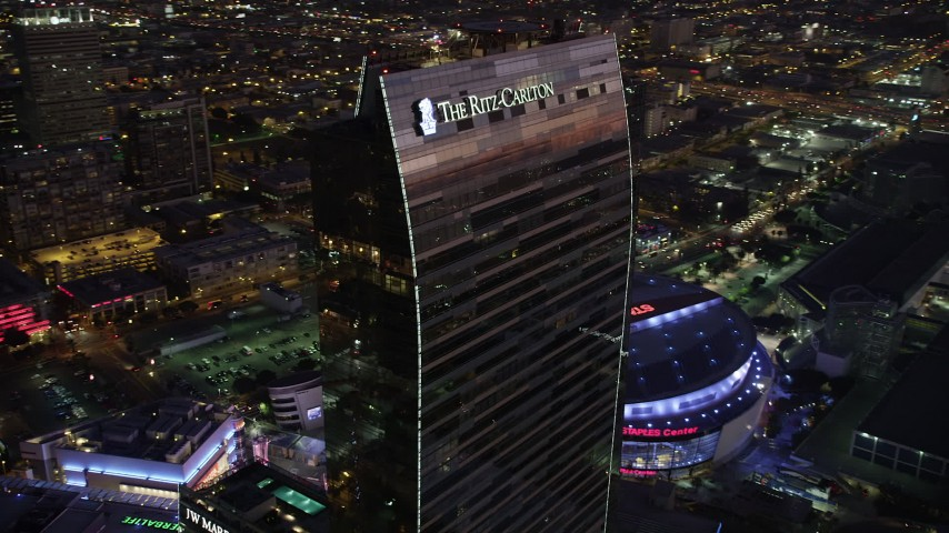 5K stock footage aerial video of the top of the Ritz-Carlton Hotel in Downtown Los Angeles, California at twilight Aerial Stock Footage AX69_093 | Axiom Images