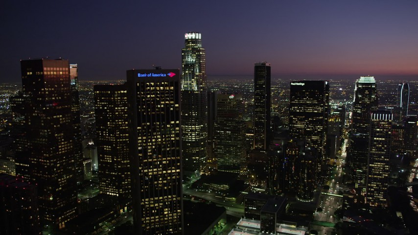 5K stock footage aerial video of Downtown Los Angeles skyscrapers at nighttime, California Aerial Stock Footage | AX69_102