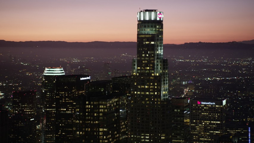 5K stock footage aerial video top of US Bank Tower in Downtown Los Angeles, California at night Aerial Stock Footage | AX69_107