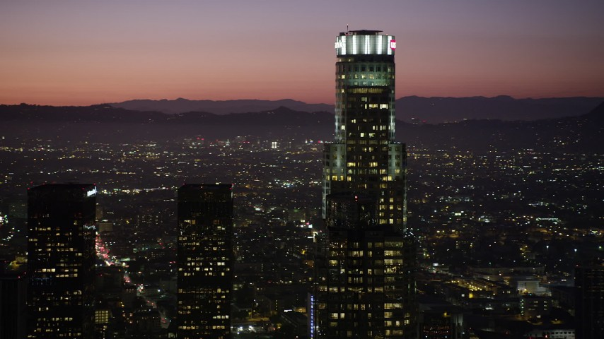 5K stock footage aerial video of US Bank Tower in Downtown Los Angeles, California at night Aerial Stock Footage | AX69_108