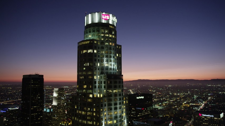 5K stock footage aerial video of an orbit of US Bank Tower in Downtown Los Angeles at nighttime, California Aerial Stock Footage | AX69_113