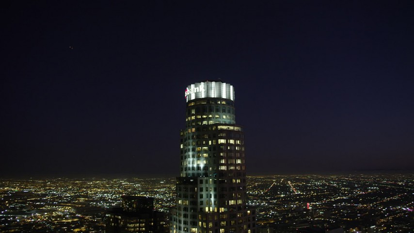 5K stock footage aerial video orbit around US Bank Tower in Downtown Los Angeles, California at night Aerial Stock Footage | AX69_114