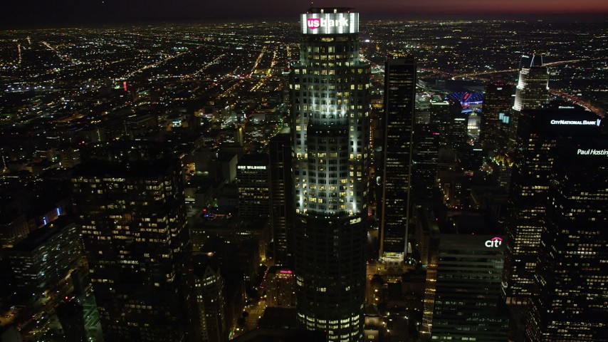 5K stock footage aerial video approach and orbit US Bank Tower in Downtown Los Angeles, California at nighttime Aerial Stock Footage | AX69_122