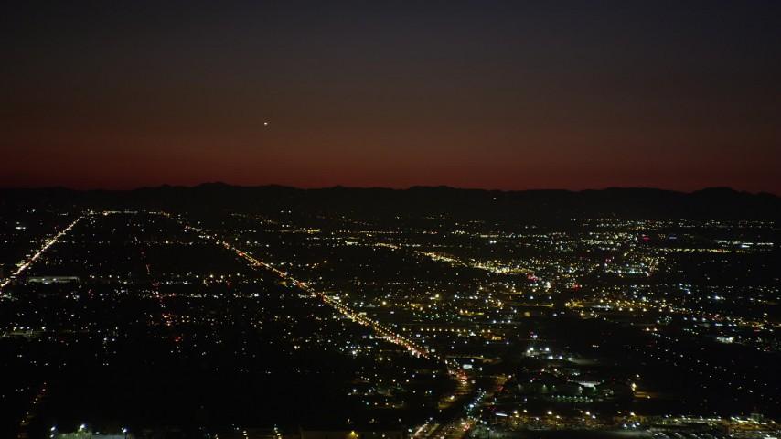 5K stock footage aerial video of suburban neighborhoods at nighttime in Burbank, California Aerial Stock Footage | AX69_144